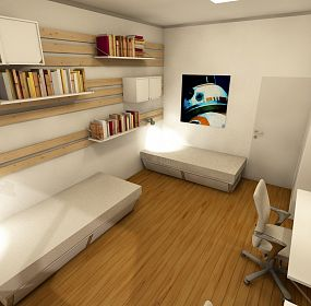Design of room in student dormitory