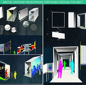 Above-ground pedestrian crossing design project