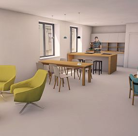 Dayroom for students in student house in Brno