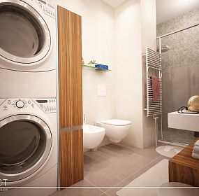 3 Bedroom House's Interior Design - Bathroom 1 and Laundry