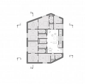 Maternity center Letna . plan III.floor. Center of the house
