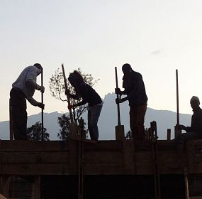 Amani Library - Process - Building the rammed earth wall