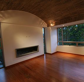 Interior of house modern architecture with large living room