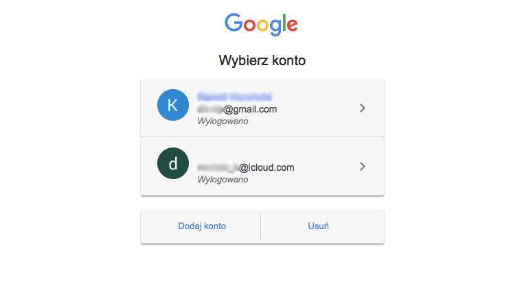 Standard Google Account Chooser screen