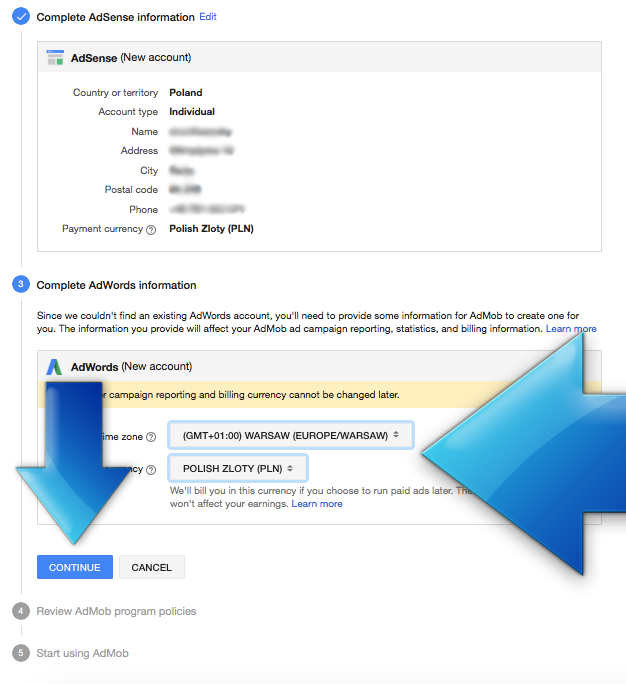 AdWords setup screen during AdMob account creation