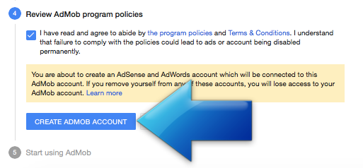 AdMob policies agreement screen