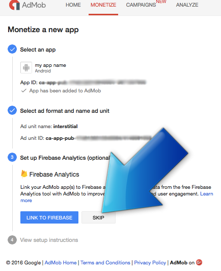 AdMob monetize new app screen - Firebase integration