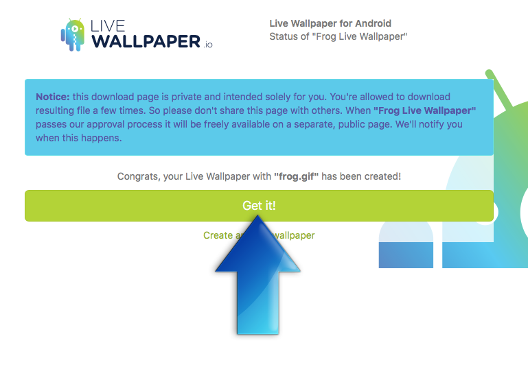 Status Page of done Frog Live Wallpaper app on Livewallpaper.io