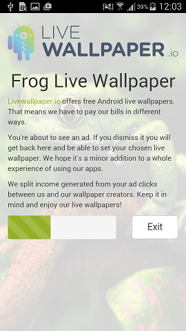Initial screen in Frog Live Wallpaper app with Set button inactive