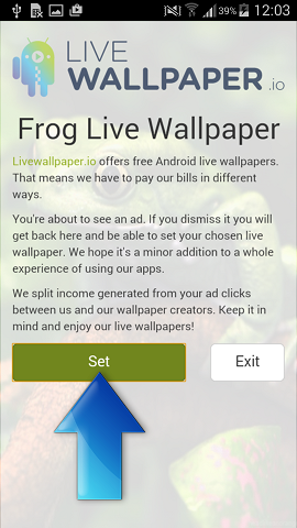 Frog Live Wallpaper app screen with Set button active