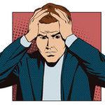 Card gente en arte pop del estilo y la publicidad retros del vintage hombre trastornado que agarra su cabeza 69940121
