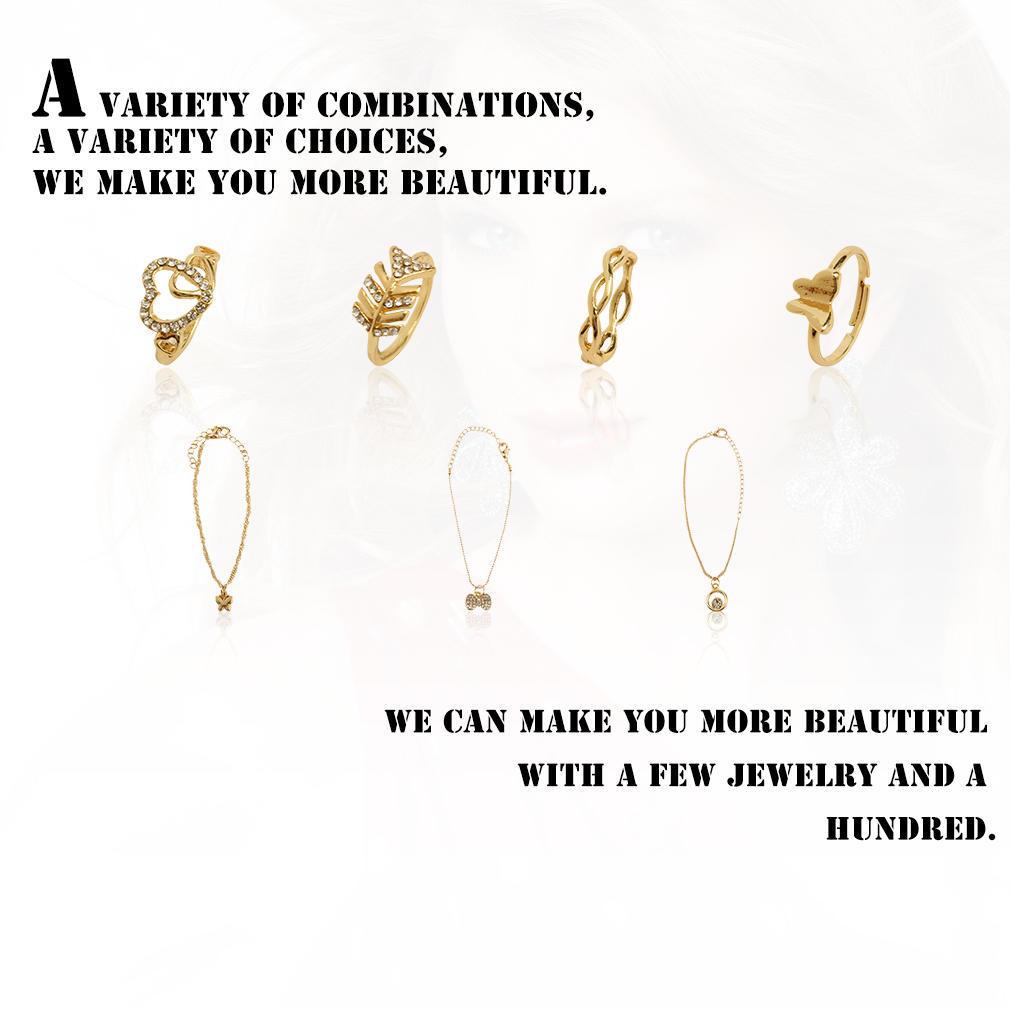 7pcs/набор подарок ювелирных изделий сердце любовь покидает бабочка колец Кулон Браслеты