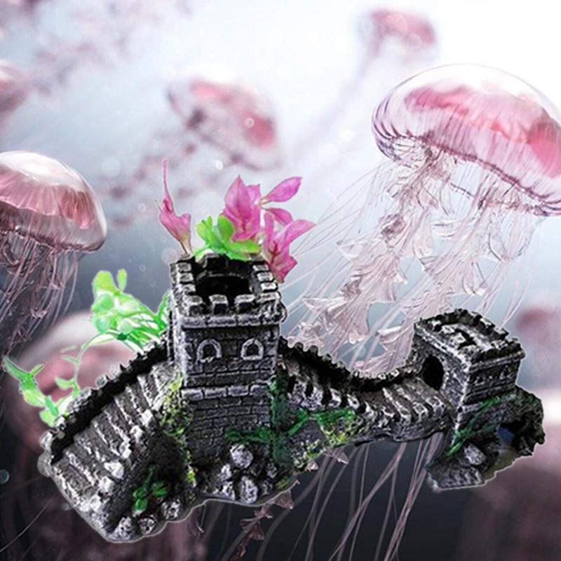 Большой замок зубчатая стена аквариум аквариум / Tropical / украшение