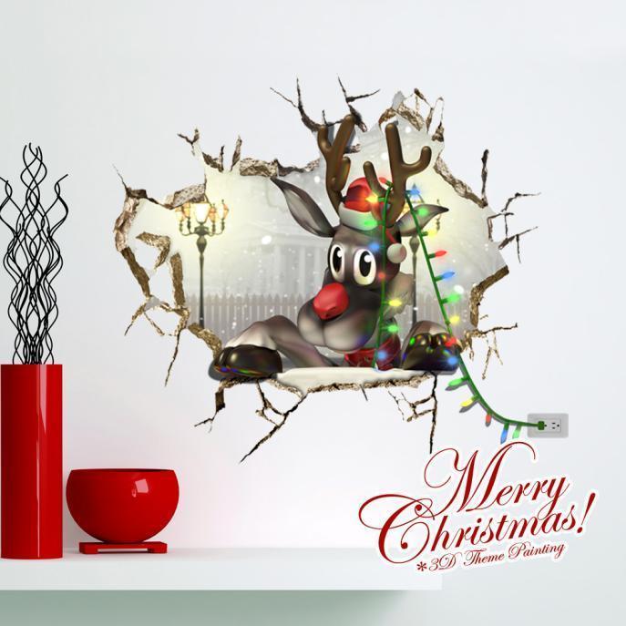 3D рождества оленей Паге стикер снег стены наклейки стикер дома стены отверстие декор hansa fcmy58109 page 2 page 3
