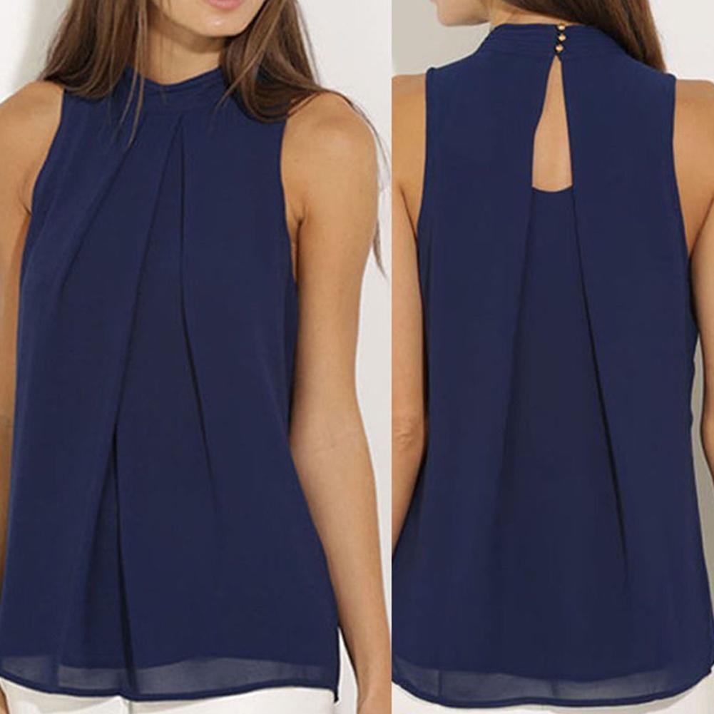women round neck sleeveless chiffon blouse casual tank tops