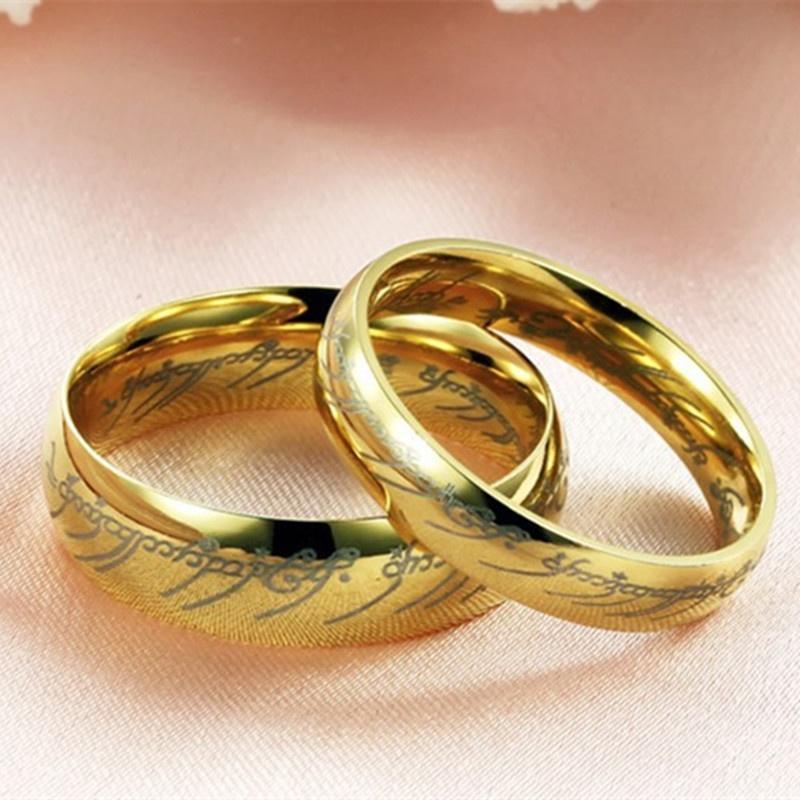 6 мм широкий Властелин кольца - шампанское золото гальваническим вольфрама кольца пара Писания ко...
