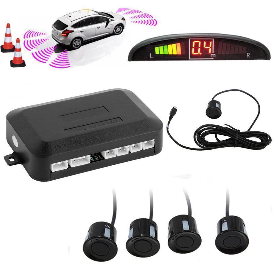 4 датчики парковки привело дисплей автомобиля авто резервного копирования обратный радиолокационн... 4 датчики парковки автомобилей резервного обратный радар заднего зуммер сигнализации