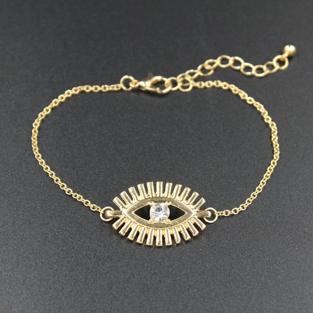 Женщин золотой кристалл глаз очарование манжеты браслет браслет регулируемый
