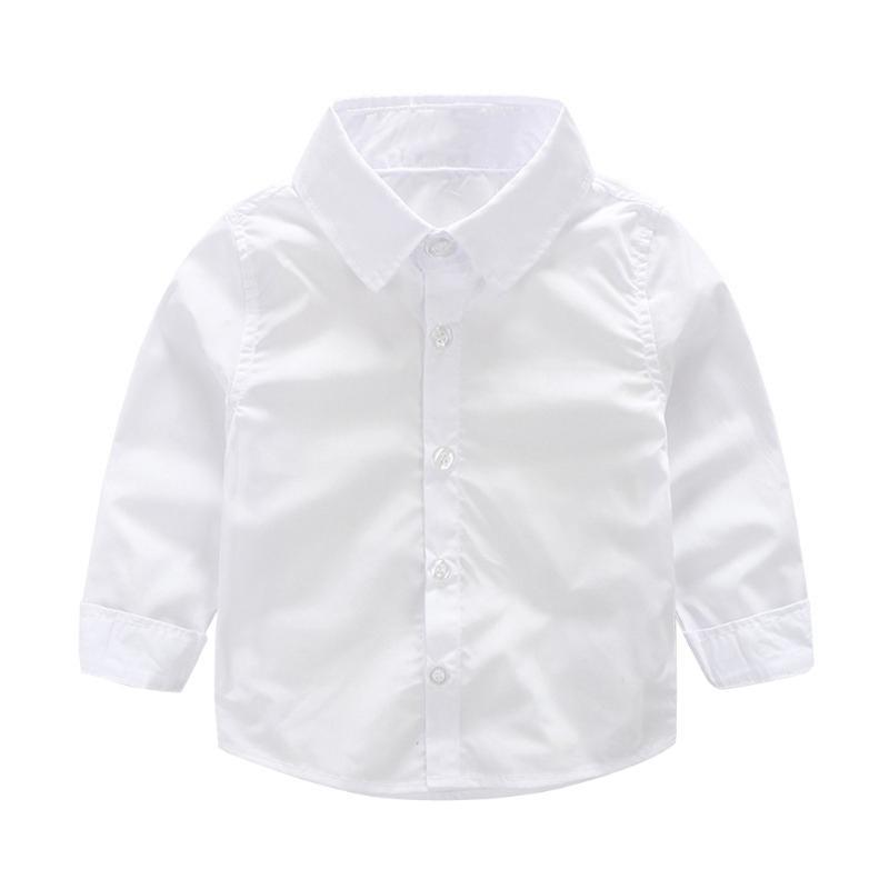 Младенческой малышей мальчики длинный рукав рубашки Топы одежда белые рубашки рубашки
