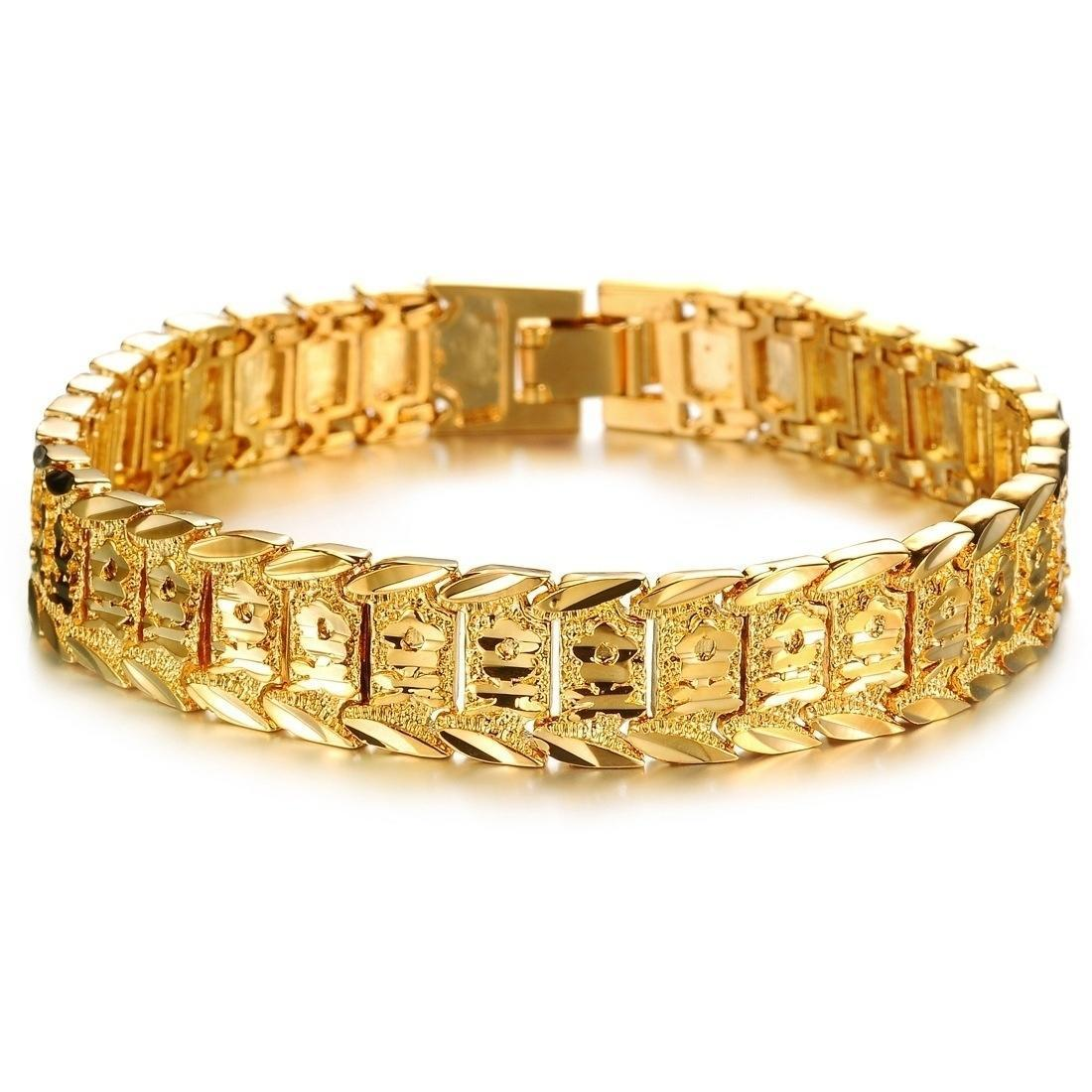 Ювелирная Мода покрытием 18K золото мужской браслет