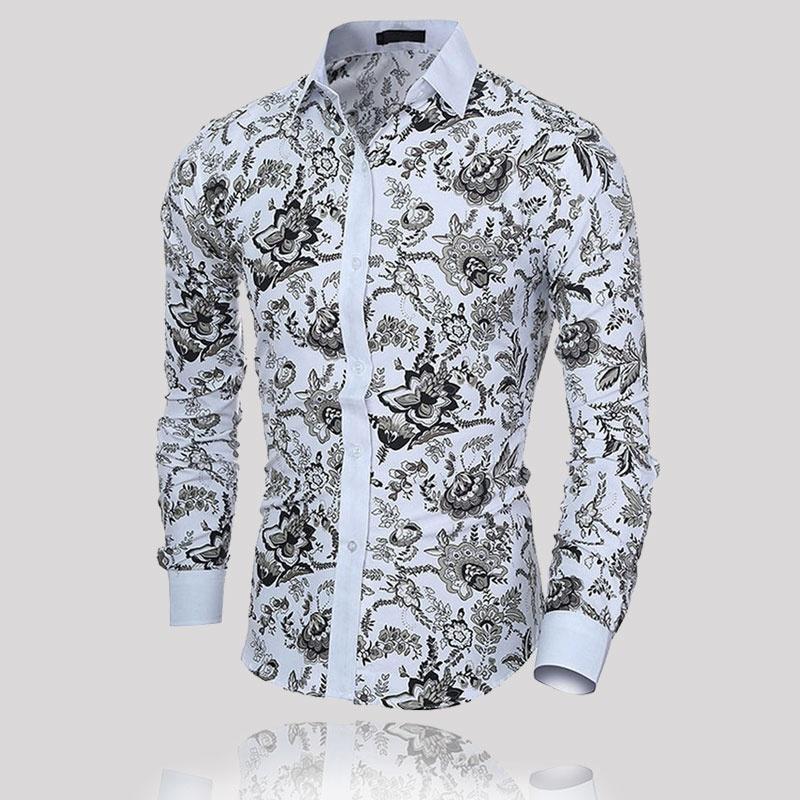 Мода Мужская случайный рубашки с длинным рукавом подходят цветочные вершины рубашки рубашки