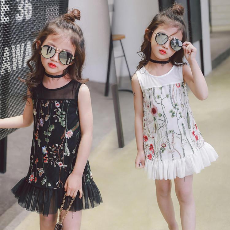 Дети ребенка одежду девочек летом цветочные платья одежда Платья Принцесса платья для девочек