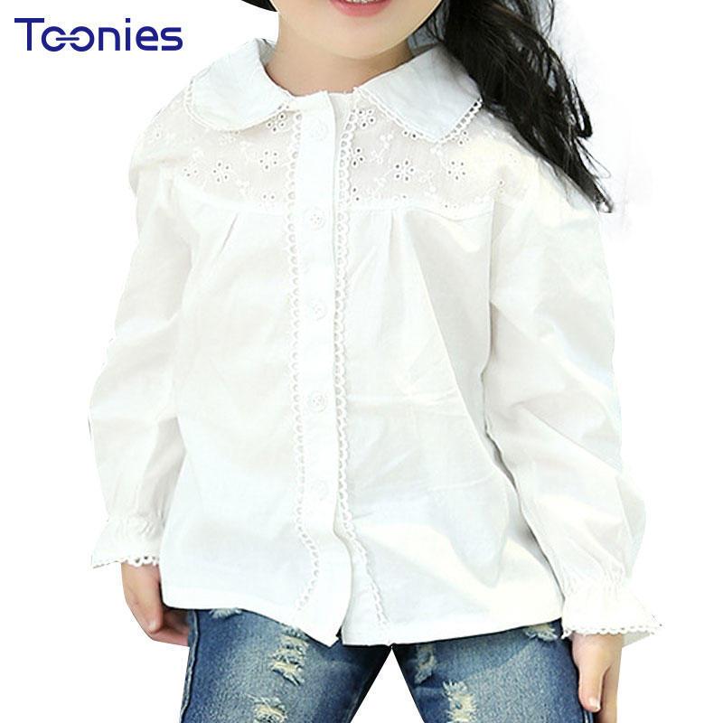 2017 весной Baby девочек Топы Блузки качества белый девочек блузки детей хлопок длинные рукав шко...