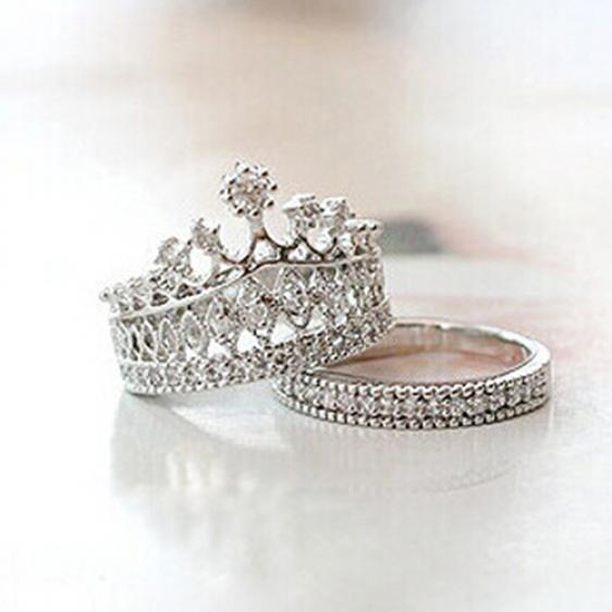 Женщин Корона заявление кольцо 2 группы стека горный хрусталь сплава украшения подарок золотой