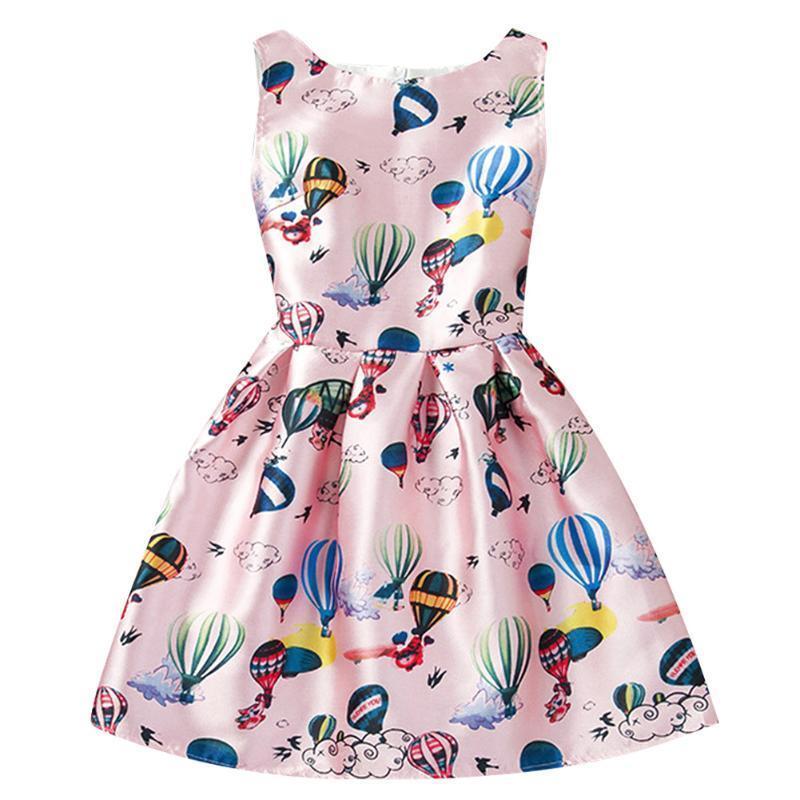 2016 лета стиль печати рукавов шар дети одежда Платья для девочек платья для девочек