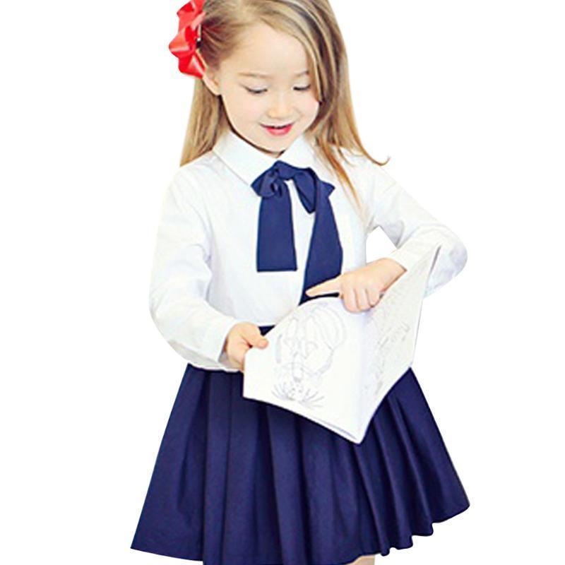 Платья для девочек детей школьной формы малыш дети длинное платье рукав платья для девочек