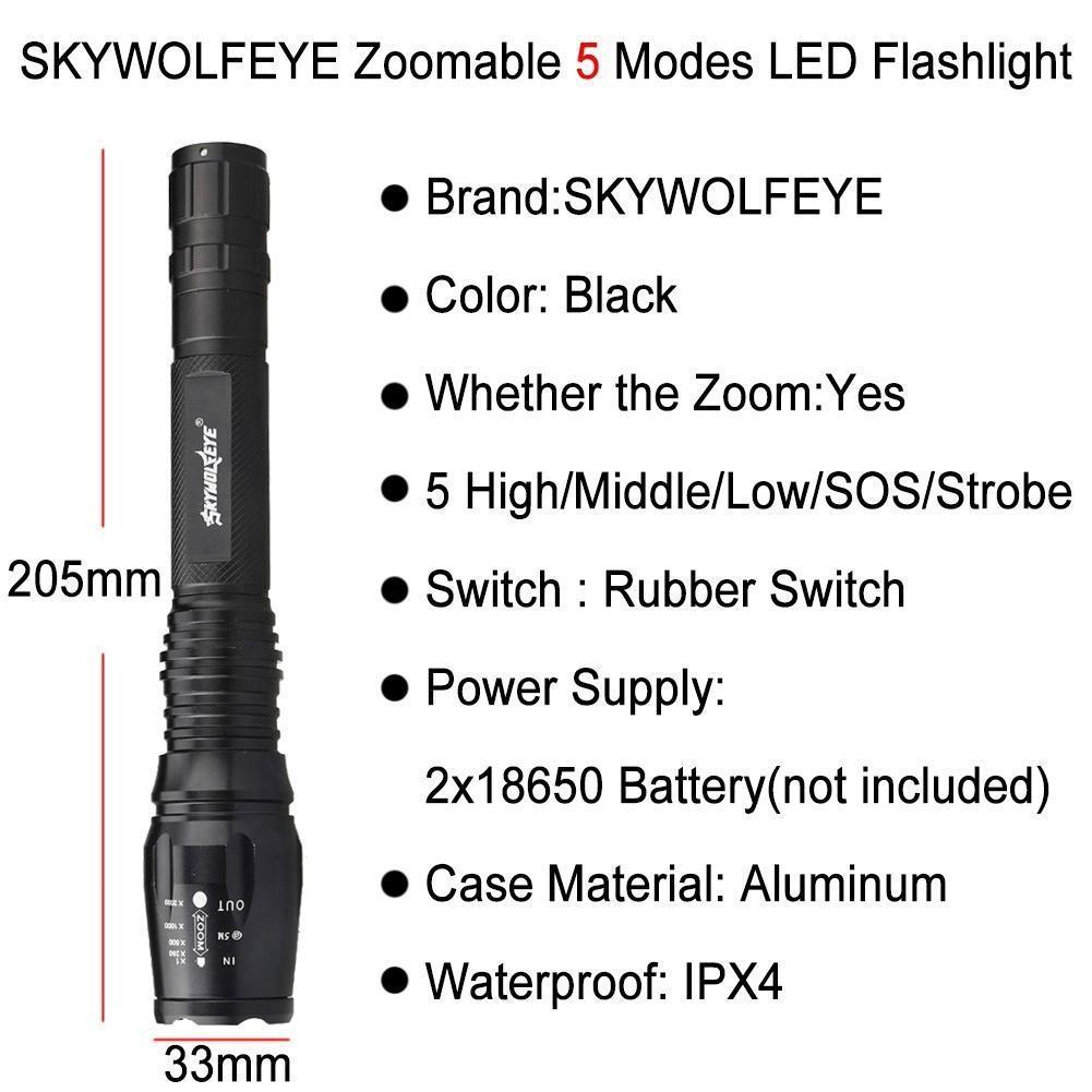 Масштабируемые 10000LM 5-режиме CREE XM-L T6 светодиодный фонарик 18650 факел лампа свет фонарик womo xm l t6 cree 5 2000 for3aaa 18650 xml t6