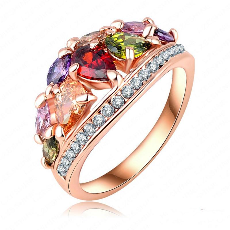 Разноцветные кольца для женщин цвет розового золота с AAA циркон Кольца обручальные кольца