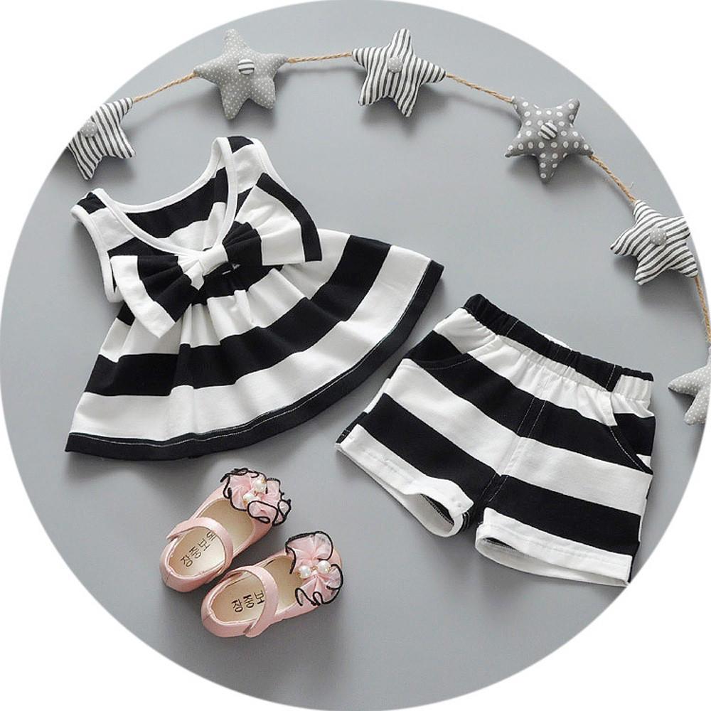 Новорожденных девочек полосатых Bowtie вершины платья + шорты брюки костюмы одежда набор Babys вязаные платья для новорожденных девочек