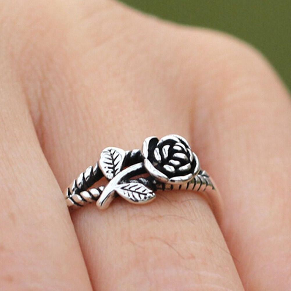 Кольца женские розы Корейский веревку линии открытия ретро серебряные часы тайский Серебряное кольцо
