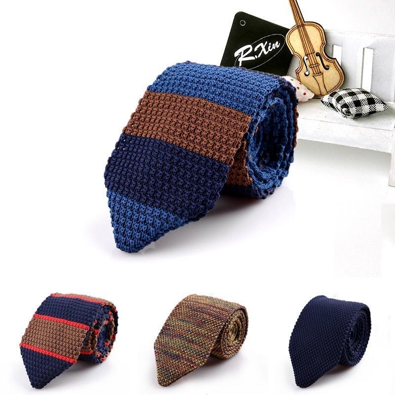 Тонкий дизайн трикотажные узкие галстуки Cravate исхудавшие галстуки для мужчин полоску галстук галстуки