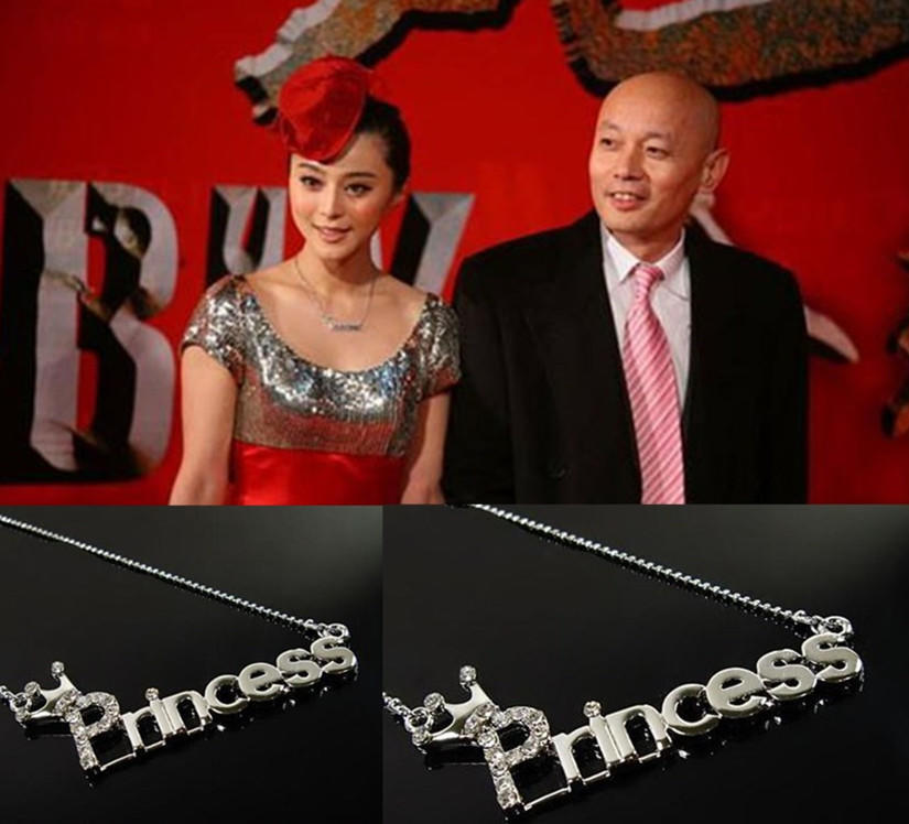 Новая мода кристалл буквы ' Princess'th Корона ключицы Серебряные цепи принцесса кулон ожерелье з... знаменитости в челябинске