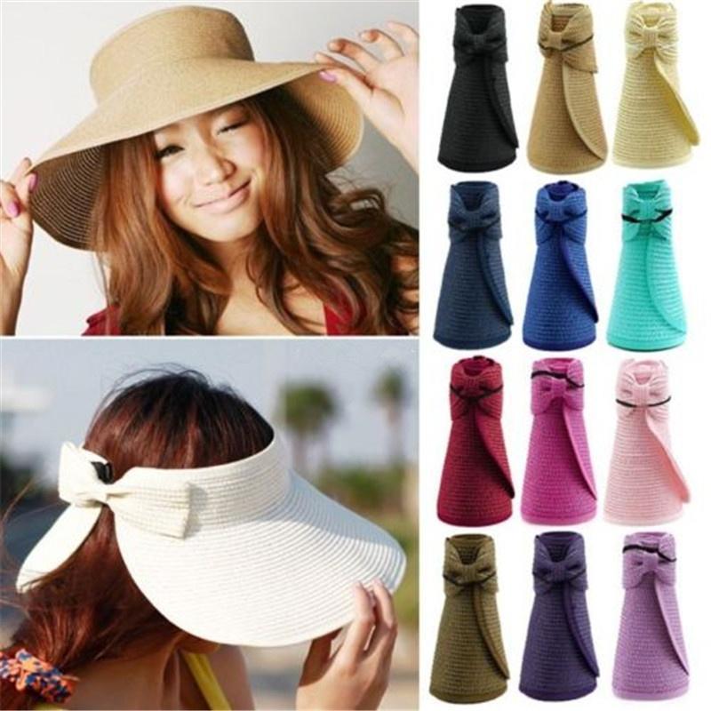 summer women foldable sun beach wide brim straw visor hat