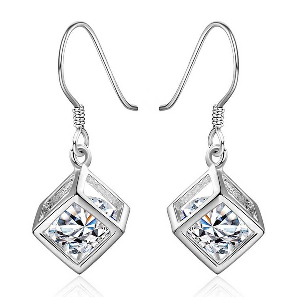Женщины мода 1 пара 925 Серебрянные серьги кристалл куб формы серьги