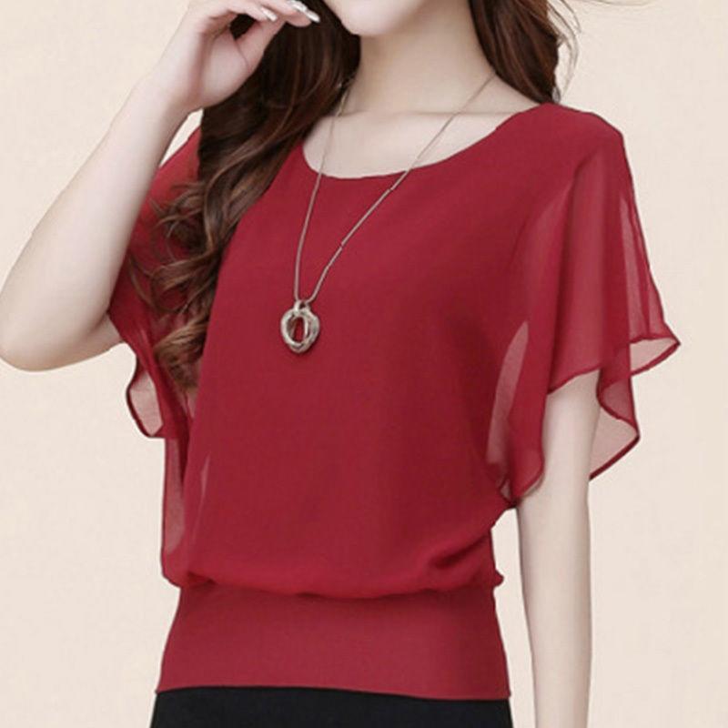 blusa feminina summer casual plus size slim bat sleeve chiff