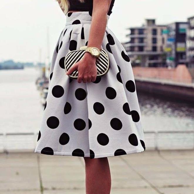 Женская мода Bodycon полька точка красивые Зонты юбка ретро слоеного юбки зонты