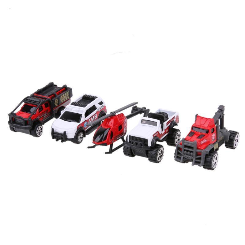 5шт 1: 64 масштаба скорой помощи сплава автомобилей модели дети дети автомобилей игрушка в подарок тележка для транспортировки автомобилей сорокин 2т 9 64