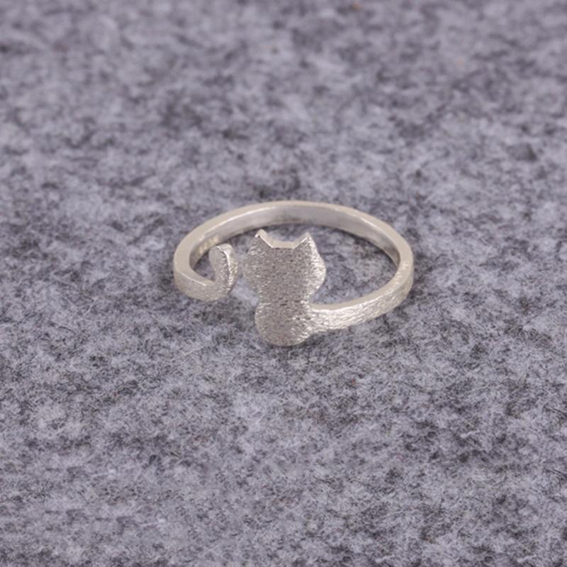 Ручной стерлингового серебра 925 кольцо cat леди кольцо открытия милый животных
