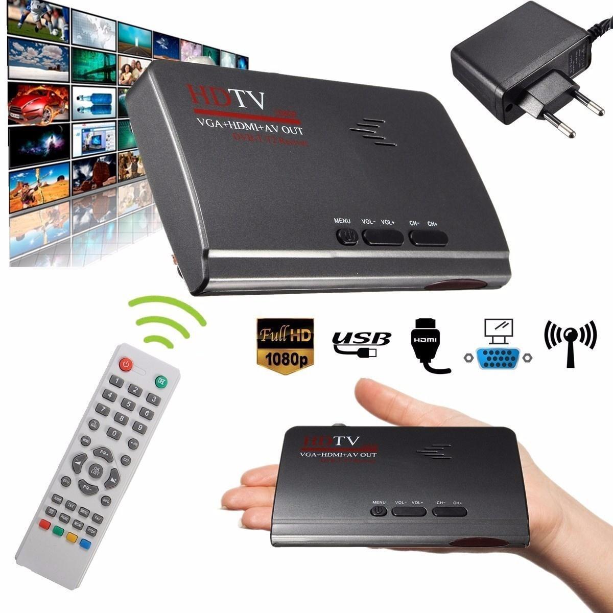 1080P HDMI DVB-T-T2 TV Box VGA/AV тюнер приемника конвертер с дистанционным управлением original satlink ws 7990 4 route dvb t modulator av hdmi four router dm modulator dvb t av hd digital rf modulator