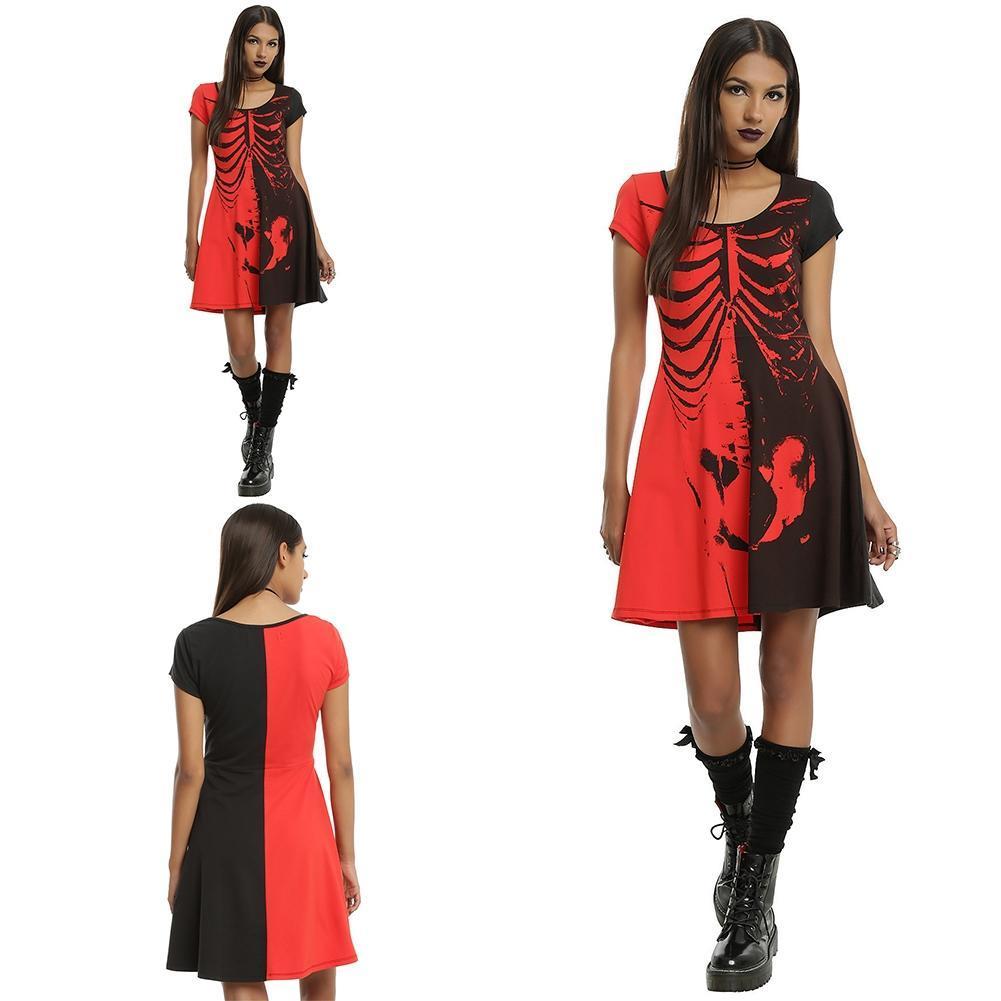 Мода женщин платье короткий рукав платье Скелет печатных платье летнее платье платье