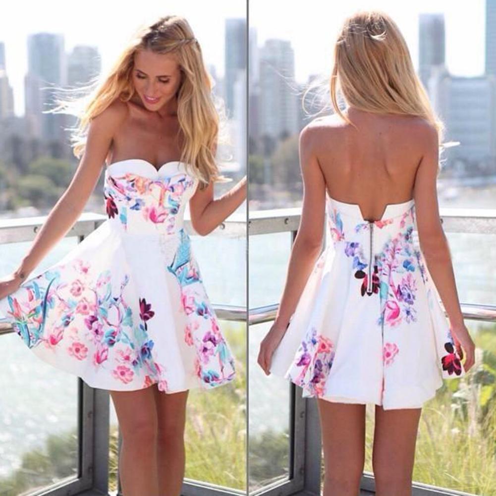 Сексуальная женская одежда случайные летом цветочные печати мини-платье женская одежда