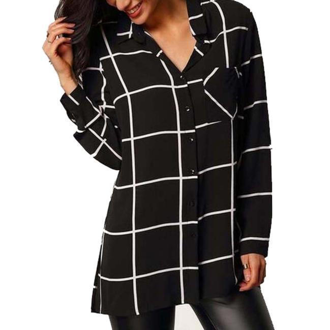 Женщины блузки рубашки шифон случайный рубашки с длинным рукавом рубашки