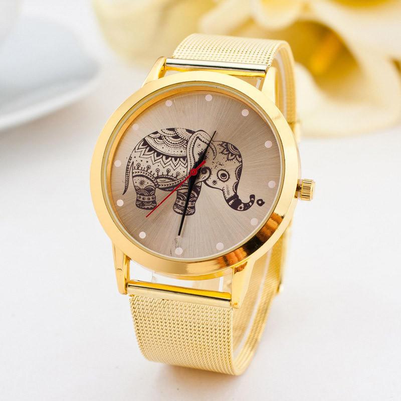 Слон золотые кварцевые часы из нержавеющей стали