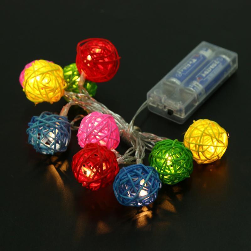 10 Светодиодные теплый белый ротанга шар фея Ночники для Рождества ночники pabobo ночник мишка путешественник