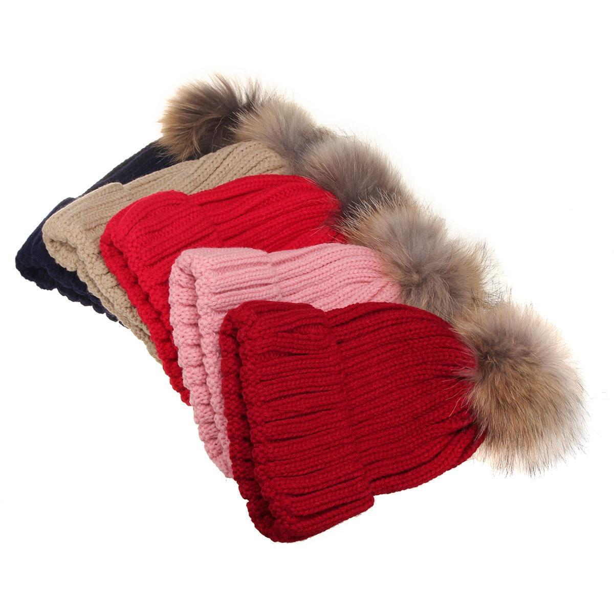 Мода женщин зимой 15 см меха Pom мяч вязаный крючком мешковатые Bobble Hat Beanie лыж Cap hot winter beanie knit crochet ski hat plicate baggy oversized slouch unisex cap