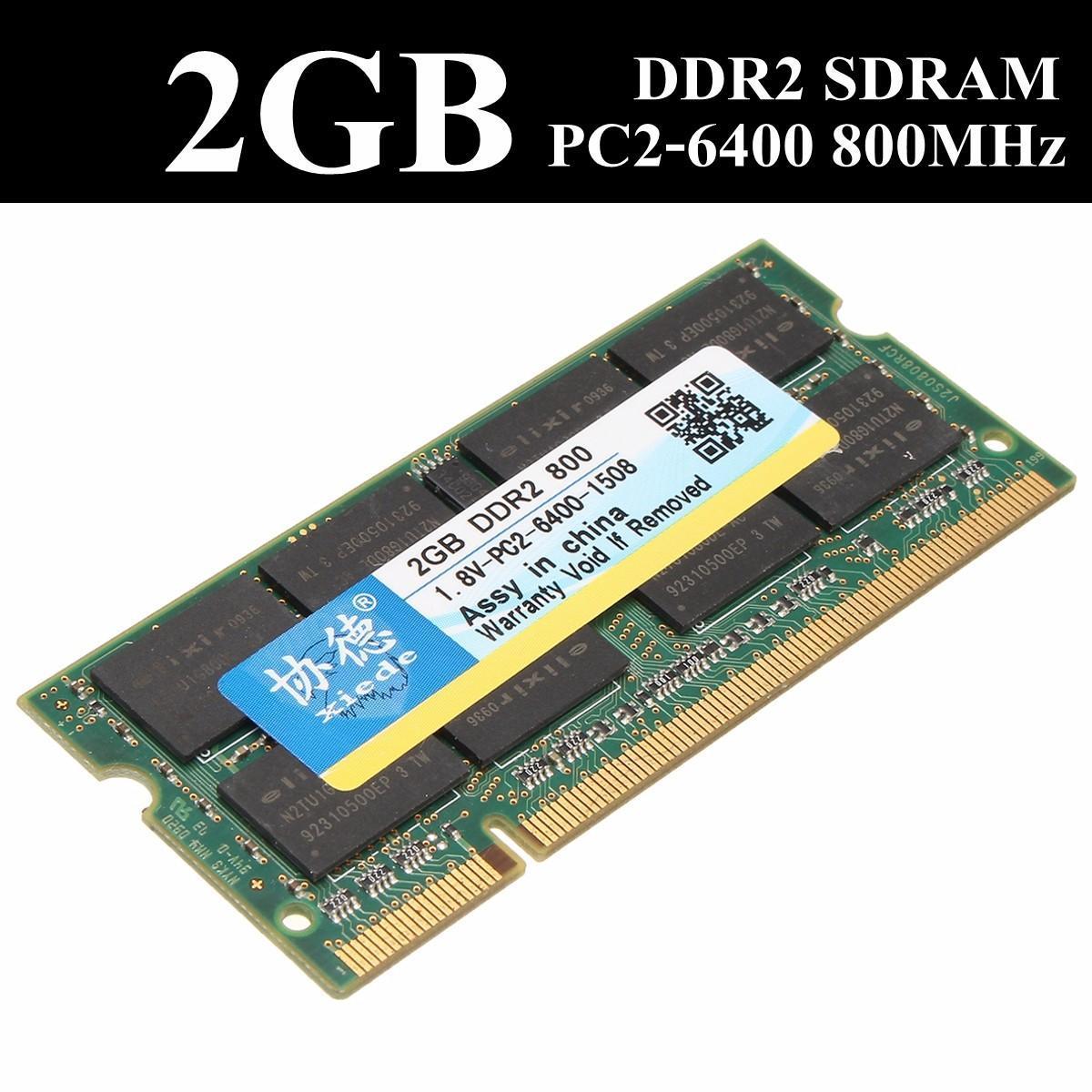Xiede 2 ГБ DDR2 800 PC2-6400 не ECC ноутбук компьютер памяти DIMM памяти 200 контактов for 2gb 1x2gb pc2 6400 ddr2 800 450260 b21 460424 001 with 1 year warranty
